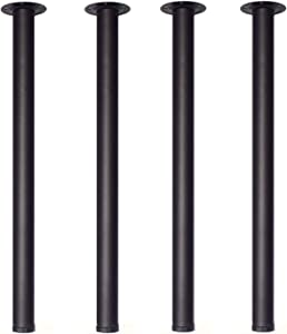 28 Inch Height Furniture Legs,Home Office Metal Heavy Duty, Mid Century Adjustable Modern Durable Iron Legs for Computer Desk,Coffee Table,Kitchen Table(Set of 4)-Black
