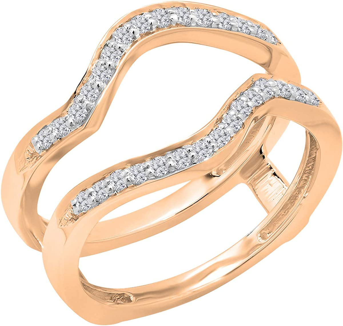 Dazzlingrock Collection 0.25 Carat (ctw) Round White Diamond Ladies Wedding Contour Enhancer Double Guard Band 1/4 CT, 10K Gold