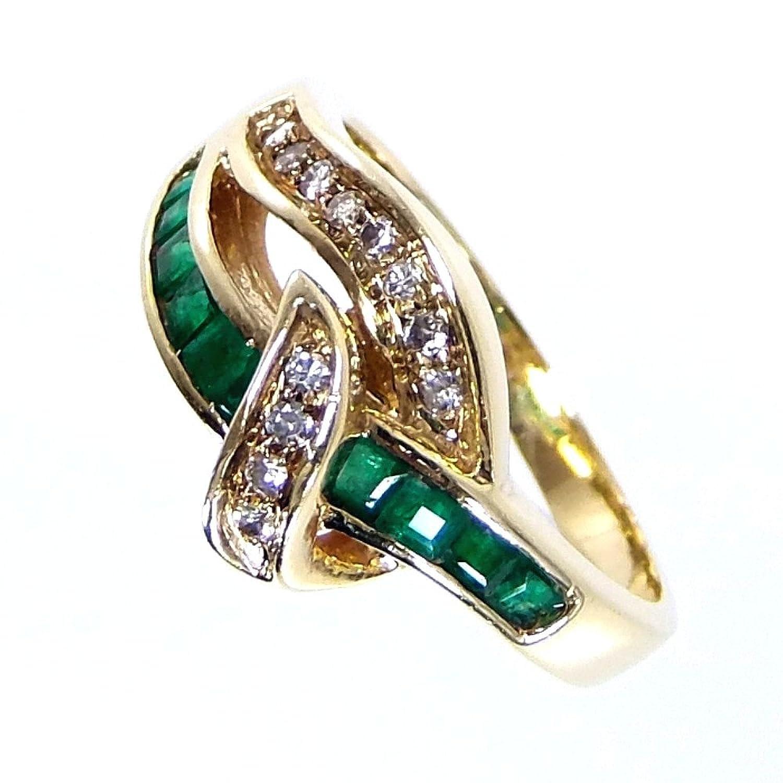 リング指輪 5.5g 750(K18) エメラルド ダイヤ 13.5号 レディース 中古 B07DRB3HP7