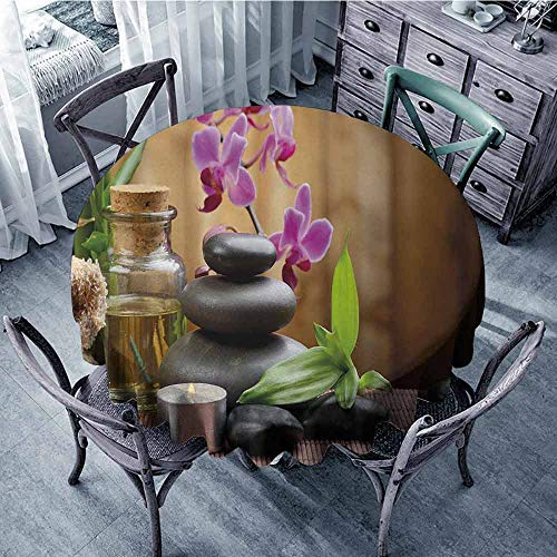 Picnic Round Tablecloth Spa,Warm Welcoming Spa Reception Big Healing Stones Candles Scent Flowers Print,Purple Black and Green Picnic Cloth Diameter 54
