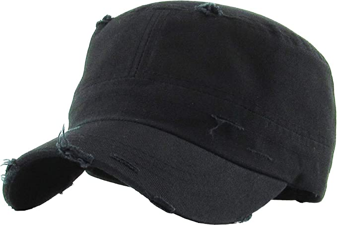 7fbd5cd14f4 KBETHOS KBK-1466 BLK Pure Cotton Twill Adjustable Cadet GI Hat at ...