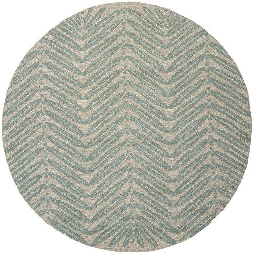 Safavieh Martha Stewart Collection MSR3612C Premium Wool and Viscose Chevron Leaves Blue Fir Area Rug (6' Diameter) ()