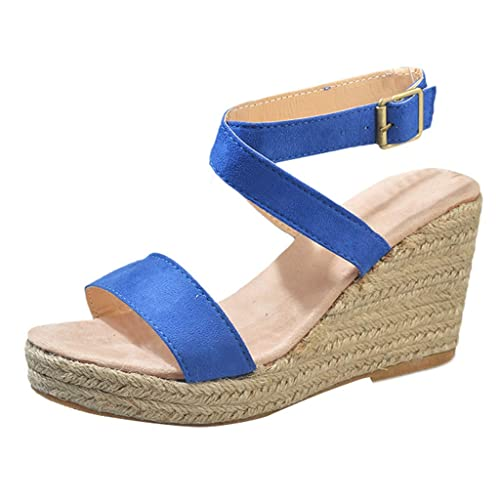 57777c4dc Modaworld Sandalias de cuña de Mujer Casuales de Verano Zapatos Fiesta  Sandalias de Vestir señoras Sandalias Planas Romanas comodas niña de Playa  Calzado  ...