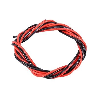 20AWG Silicone souple câble électronique rouge et noir fil pour voiture RC (1 mètre rouge + 1 mètre noir)