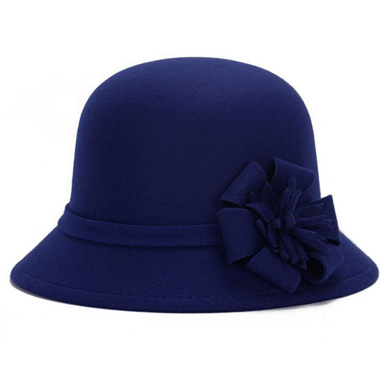 Women Wool Felt Fedora Flowers Hat Wide Brim Hat Winter Fashion Cap