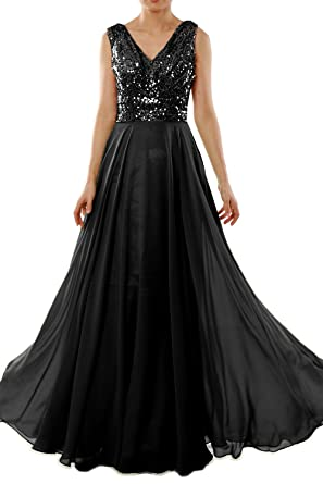 MACloth Women V Neck Lace Chiffon Long Prom Dresses Formal Party Evening Gown (32, Negro)