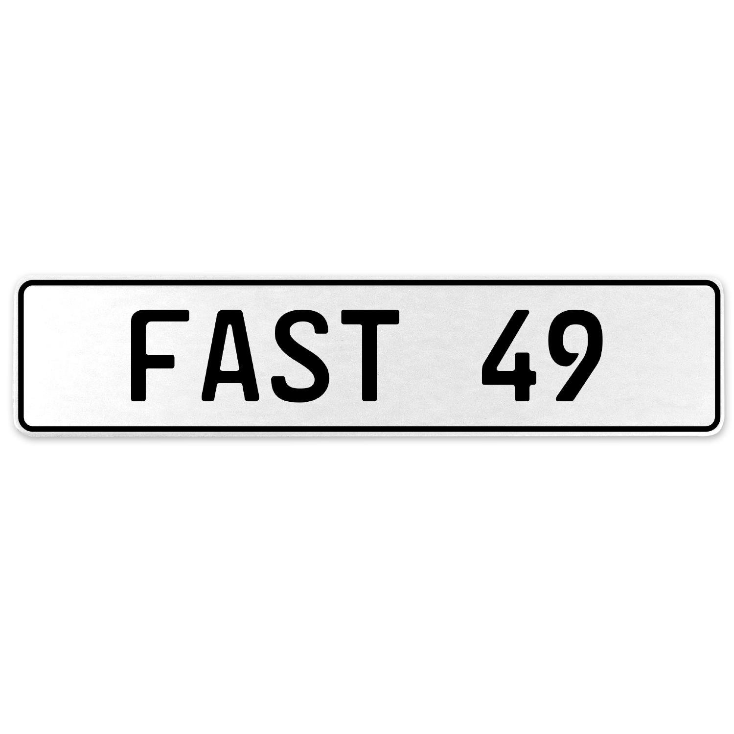 Vintage Parts 557319 Fast 49 White Stamped Aluminum European License Plate