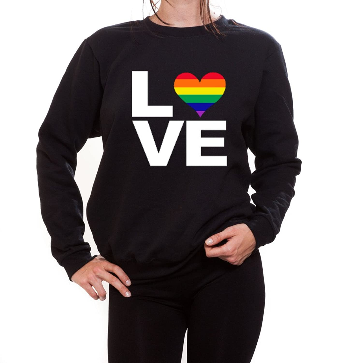Women's Love - Rainbow Heart Gay & Lesbian Equal Rights Pride Crewneck Sweater