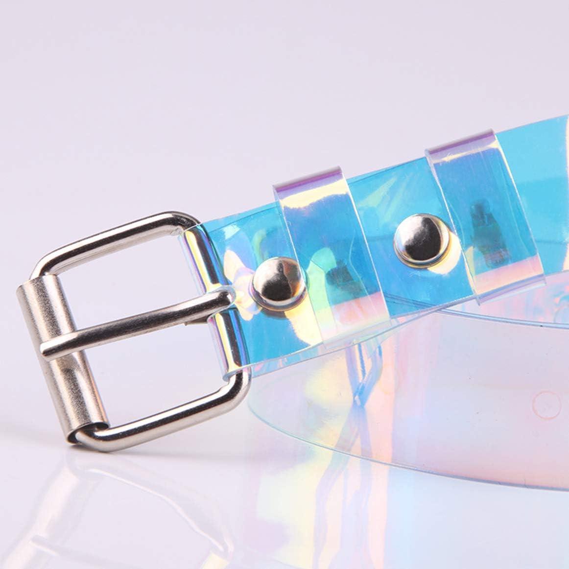 Womens Belts PVC-Grommet-Holographic-Clear Pin-Bucket Waist-Belt 90cm length//35inch,Rainbow
