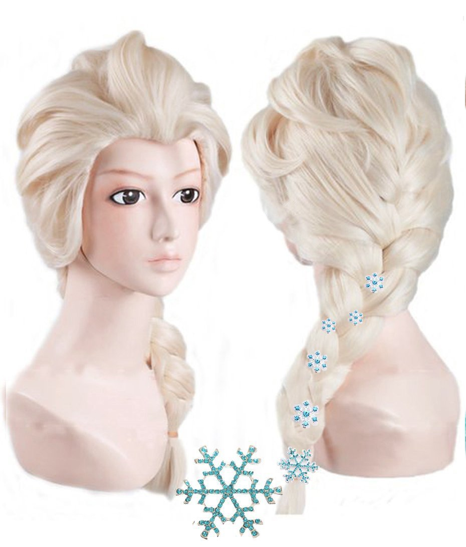Anogol Hair Cap+ Kids Blonde Cosplay Wig Party Wigs Braid With 6 Hairpins