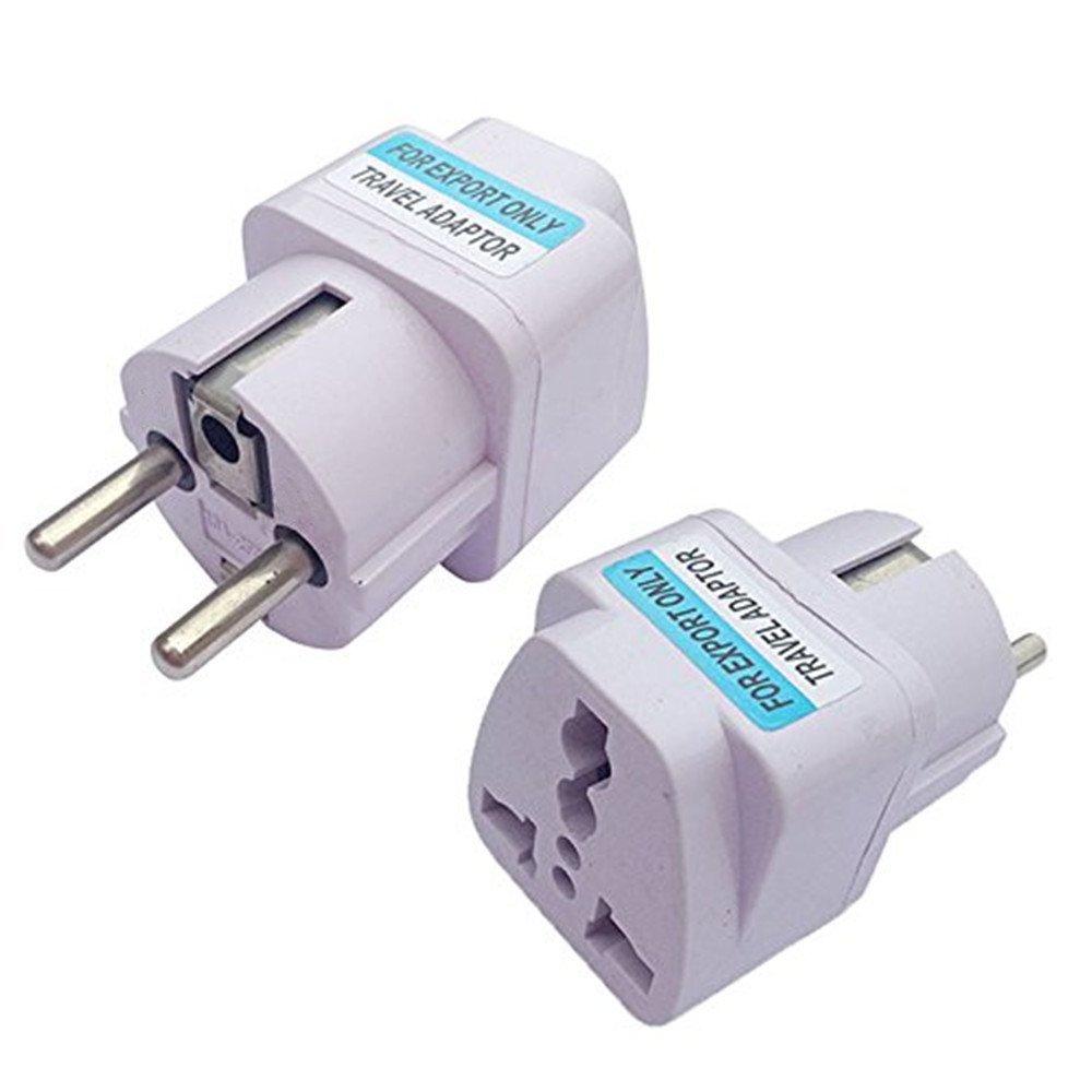ANRANK UE3360AK 2 Packs Universal AU US UK to EU Europe Plug AC 250V Power Travel Adapter White