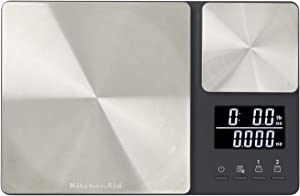 KitchenAid KQ909 Dual Platform Digital Kitchen Scale, 11 pound capacity, Black