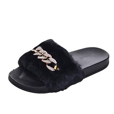 1f6670b4fdffed Fuzzy Fur Slippers for Women Winter Chain Fur Leopard Slides Sandals Black