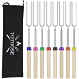 Totoose Extendable Marshmallow Roasting Sticks - Set of 8 Telescoping Smores Skewers & Hot Dog Forks with Wooden Handle for F