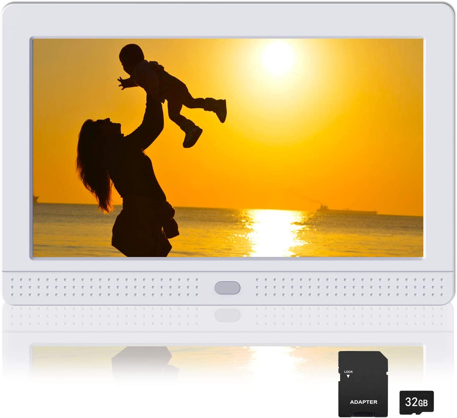 Atatat Digital Picture Frame with IPS Screen, 1080P Video, Background Music, Digital Picture Frame 1280x800 with Remote Control, Auto Rotate, Calendar, Time,Support USB and SD Card (7 Inch White)