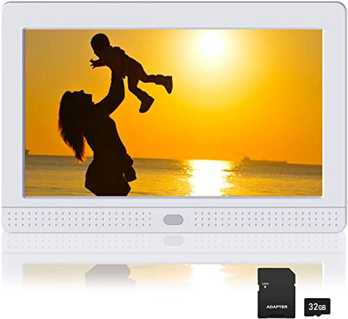 Atatat Digital Picture Frame with IPS Screen, 1080P Video, Background Music, Digital Picture Frame 1280×800 with Remote Control, Auto Rotate, Calendar, Time,Support USB and SD Card 7 Inch White
