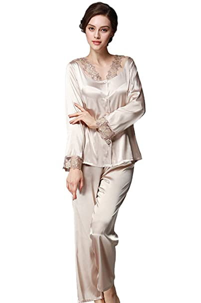 Conjunto de Pijamas de satén para Mujeres Conjunto de Pijamas de Seda de Primavera y Verano