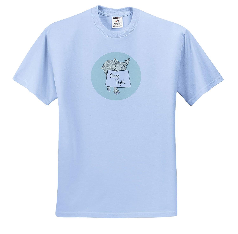 T-Shirts Sleep Tight Sleep Tight Cute Baby Deer with Message 3dRose Russ Billington Pastel Nursery