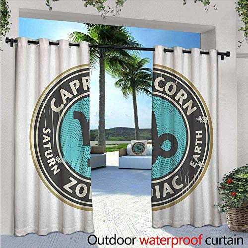 Zodiac Capricorn Indoor/Outdoor Single Panel Print Window Curtain W84 x L108 Grunge Astrology Elements Saturn and Earth Lettering with Sign Silver Grommet Top Drape Taupe Pale Blue ()