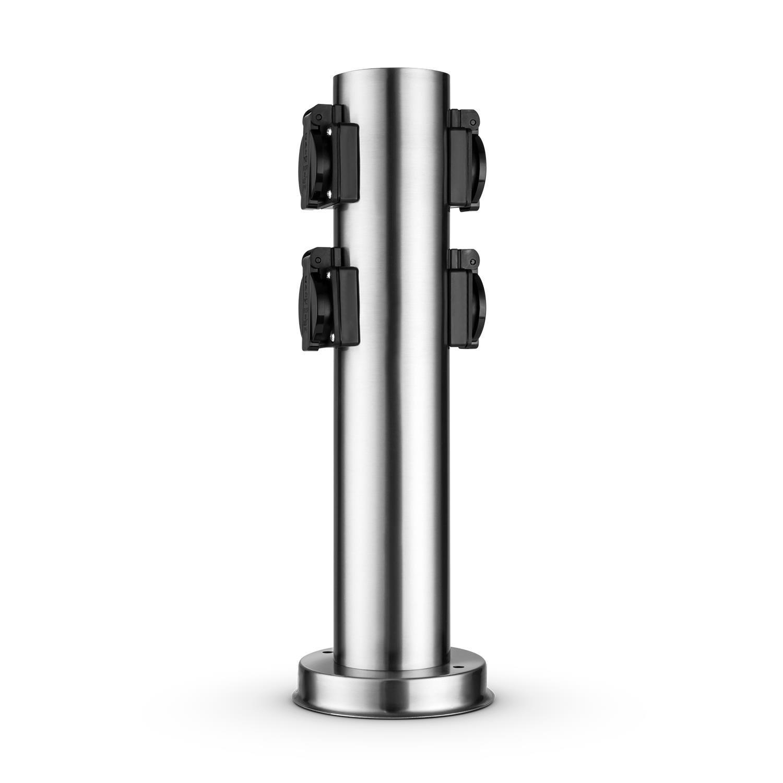 forme de colonne ronde avec 4 prises Schuko acier Waldbeck Plug 4 Play Round Multiprise de jardin fixe