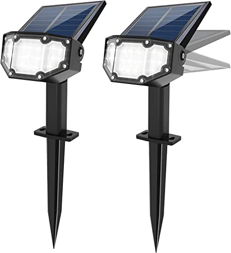 Solar Spotlight Outdoor Landscape Light 19 LED Waterproof with Adjustable Solar Panel and Adjustable Head Bright White Light 2-in-1 Powered Wall Light for Yard Walkway Driveway Garden 2 Pack