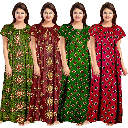 Lorina Women's Cotton Nighty (Multicolour) -Combo of 4 Pieces