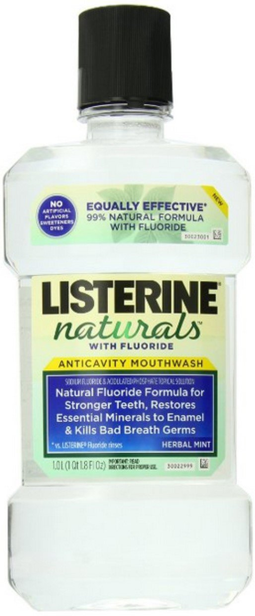 Listerine Naturals Fluoride Anticavity Mouthwash Herbal Mint, 33.8 oz (Pack of 8) by Listerine (Image #1)