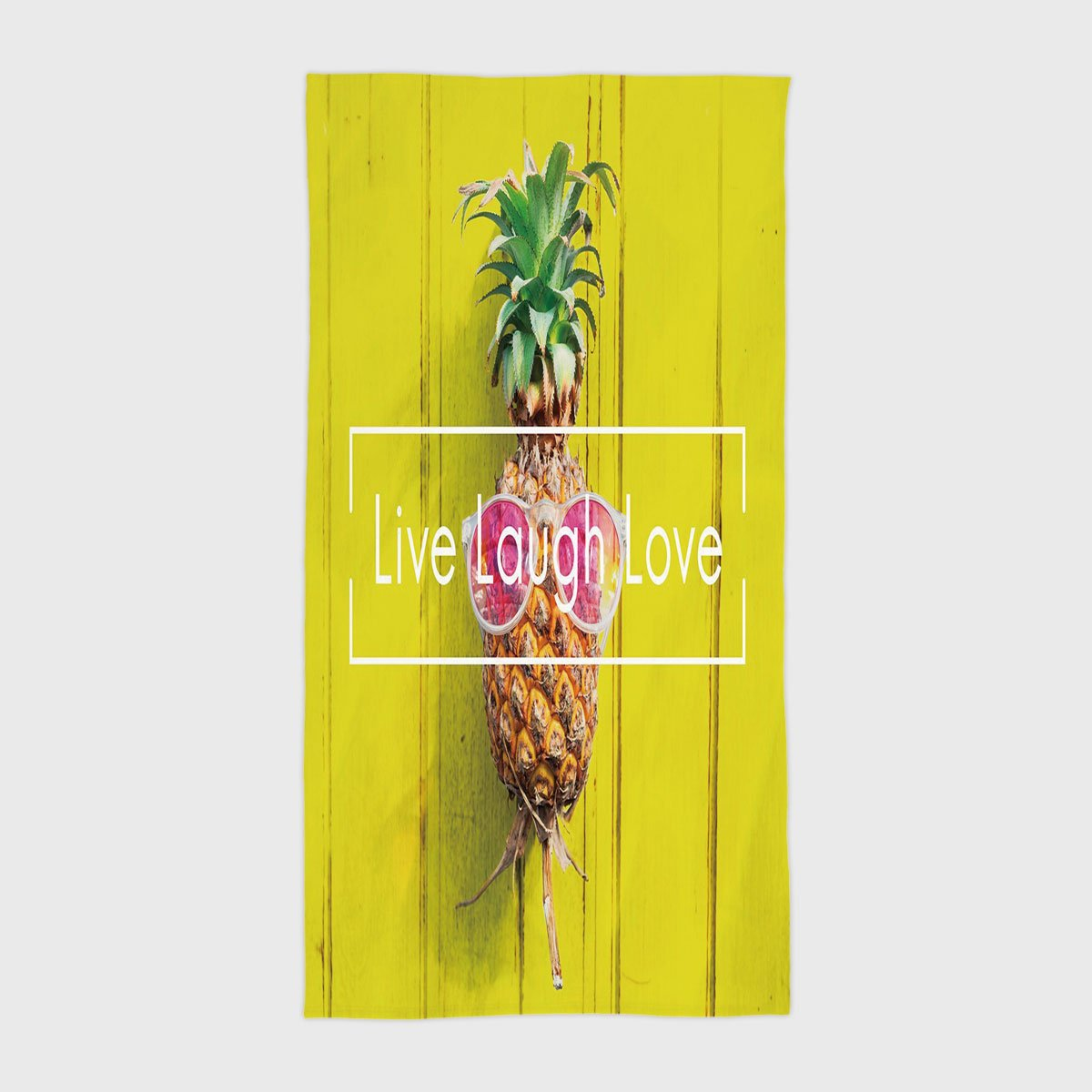 Cotton Microfiber Hotel SPA Beach Pool Bath Hand Towel,Live Laugh Love Decor,Tropical Pineapple with Sunglasses on Yellow Wood Board Joyful Print Decorative,Multicolor,for Kids, Teens, and Adults