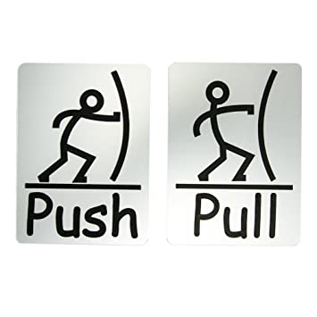 sc 1 st  Amazon.com & Amazon.com : Fun Push Pull Door Sign (Brushed Silver) : Office Products