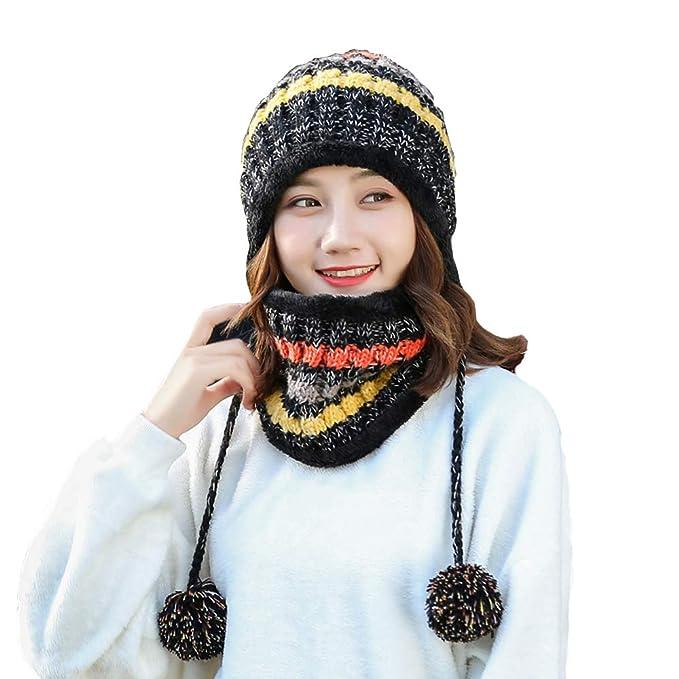 915070f520f3a Babyhood Fleece Lined Women Knit Beanie Scarf Set Girls Winter Ski Hat with  Earflap Pompom (Black) at Amazon Women s Clothing store