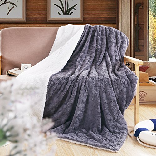DaDa Bedding Castle Royalty Lavish Luxe Soft Warm Cozy Plush Reversible Faux Fur Sherpa Fleece Throw Blanket - Embossed Textured Cool Grey & White Back Print - 90