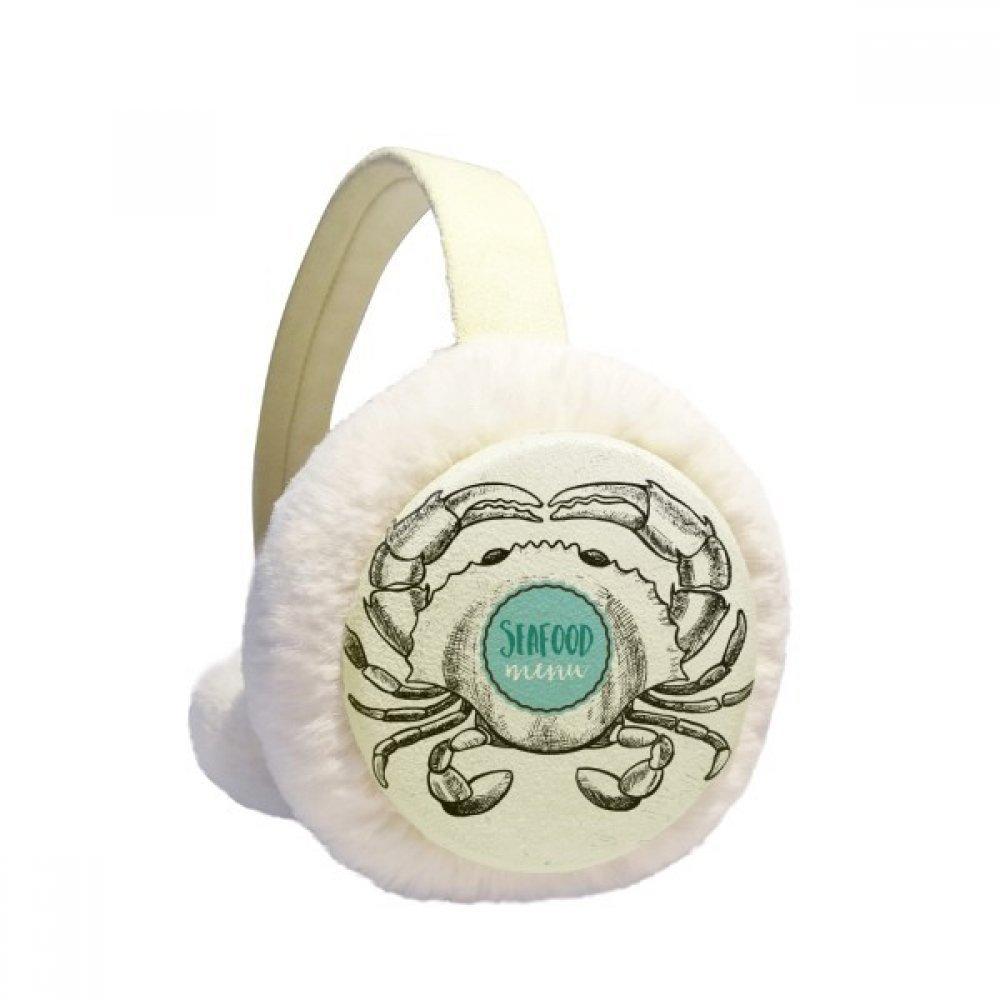 Crab Sketch Marine Organism Illustration Winter Earmuffs Ear Warmers Faux Fur Foldable Plush Outdoor Gift