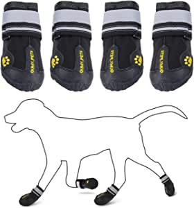 """QUMY Dog Boots Waterproof Shoes for Dogs with Reflective Velcro Rugged Anti-Slip Sole Black 4PCS (Size 6: 2.9""""x2.5""""(LW), Black-Upgrade)"""