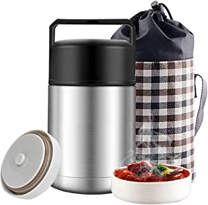 Insulated Food Jar, 33oz Food Thermos for Hot Cold Food, Stainless Steel Vacuum Insulated Thermal Lunch Container Lunch Box with Lunch Bag Handle,Leak Proof Wide Mouth for Kids Adult (Silver)