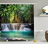 Ambesonne Waterfall Decor Shower Curtain by, Heaven Like Landscape of a Waterfall from Thailand with Exotic Trees, Fabric Bathroom Decor Set with Hooks, 70 Inches, Green and Blue