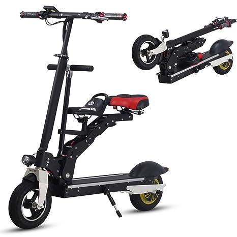 Wheel-hy Scooters eléctricos Adultos Plegables, con sillín, batería de Litio 36V 18AH, luz LED Frontal, Motor 350W, 50-60 km Range