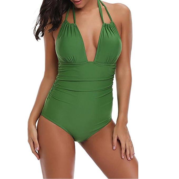 43d4165778da URSING Damen Retro Badeanzug Tief V Ausschnitt Rückenfrei Neckholder Bauchweg  Monokini Vintage Einteilige Bademode Swimwear Badebekleidung