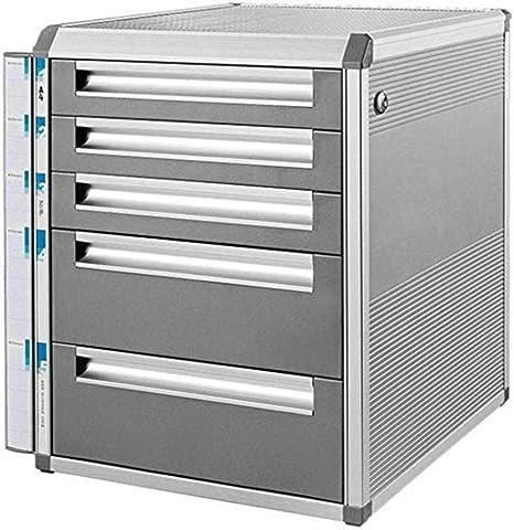 Archivadores verticales de 5 cajones para escritorio, caja de almacenamiento de datos, aluminio, cerradura de llave, gabinete de oficina, color gris, 31,5 x 35 x 39,8 cm: Amazon.es: Hogar