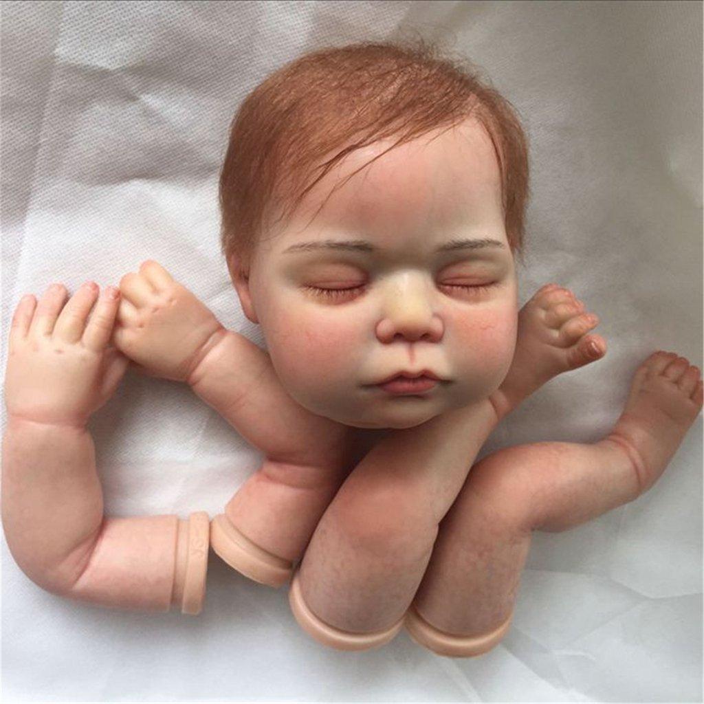 TERABITHIA Seltene lebendige weiche Silikon Schläfrige Wiedergeborene Baby Puppe Kits mit Haar