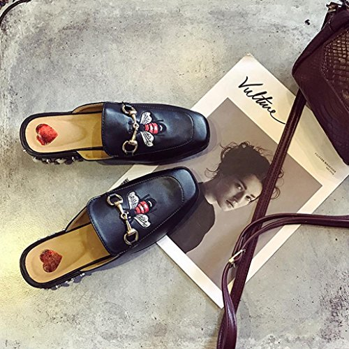 DM&Y 2017 Abeja Sra bordado zapatos de primavera y verano sandalias de Baotou semi remolque con perlas en los zapatos de la marea de solteros little bees