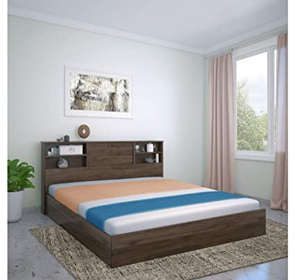 Home By Nilkamal Gunner King Size Bed With Box Headboard Storage