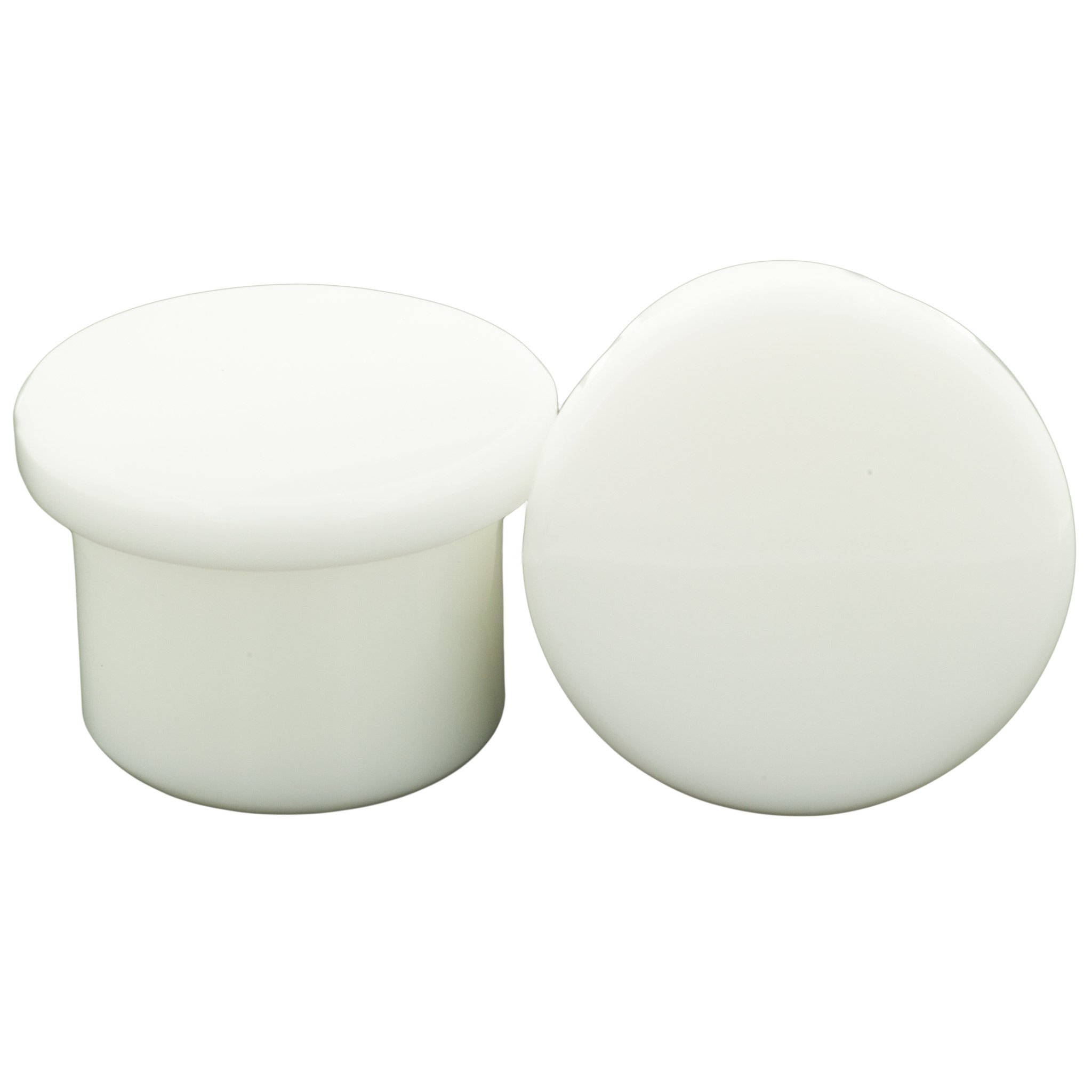 Pair of Glass Single Flared Solid Plugs: 1'', White by Steel Navel Body Jewelry