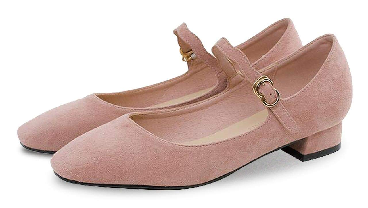 Jiu du 0.78 Inches Lightweight Cloth Velvet Shoes,Low Heels,Comfortable and Stable Indoors,Outdoors for Women,Girls Pink Size US 7.5 EU39