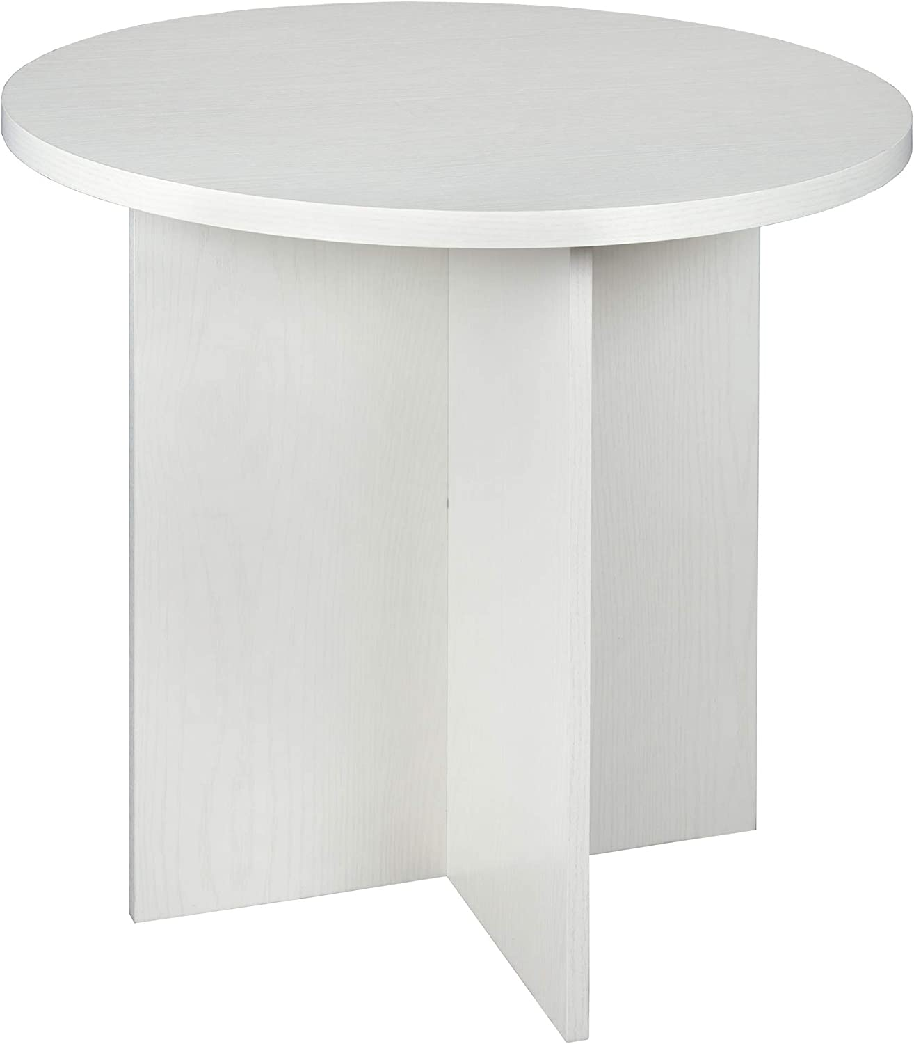 """Niche Mod Round Table with No- with No-Tools Assembly, 30"""", White Wood Grain"""
