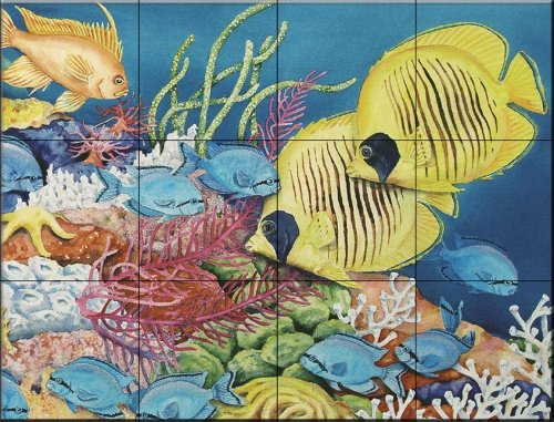 (Ceramic Tile Mural - Racoon and Butterfly Fish - by Linda Lord - Kitchen backsplash/Bathroom Shower)