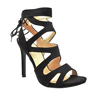 d59fa6eff1c7 HerStyle Women s Manmade Estrella 4-inch Heeled Sandal with Lace-up Back  Black 10