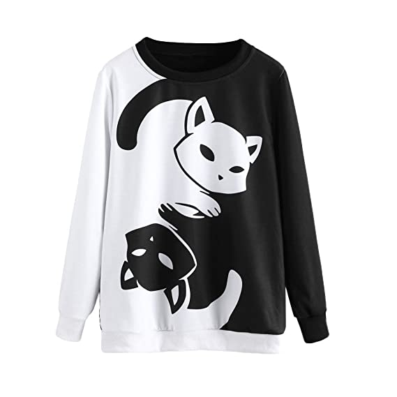 Sudaderas Mujer Tumblr - Otoño e Invierno Camiseta de Manga Larga Bordado de Gato Estampado para