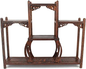 NWFashion Chinese Wooden Assemble Display Stand Symmetric Short Floor Curio Cabinets Shelf (3)
