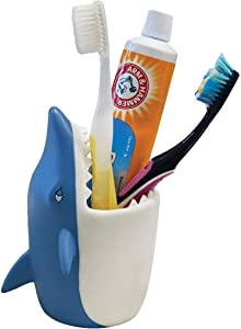 Lily's Home Fun Kids Animal Toothbrush Holder, Bathroom Organizer, Pencil Cup - Shark