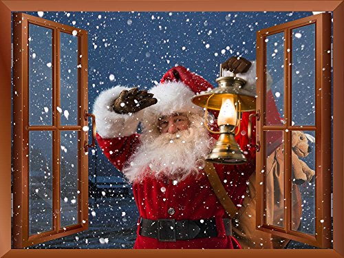 Santa Claus Wall (Wall26 Removable Wall Sticker / Wall Mural - Santa Claus Carrying Gifts outside of Window on Christmas Eve - Creative Window View Home Decor - 36